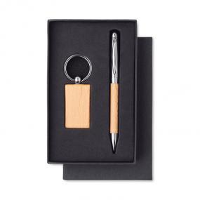 Set penna e portachiavi in legno confezionati in scatol...