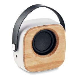 Speaker wireless 5.0 in ABS con frontale in bamboo e ma...