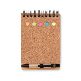 Notebook in sughero con 5 stick notes multi colore e me...