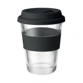 Bicchiere in vetro con tappo e impugnatura in silicone....