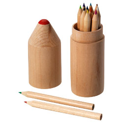 12 matite colorate in confezione cilindrica di legno a ...