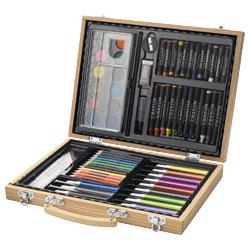 Set contenente 12 acquerelli, 12 matite colorate, 12 pe...