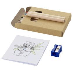 6 matite colorate, un temperamatite e un libro da color...
