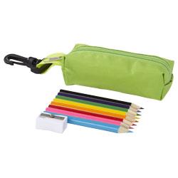 8 matite colorate e temperino in pouch con zip e clip i...
