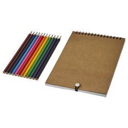 12 matite colorate, 10 fogli da colorare e 40 fogli bia...