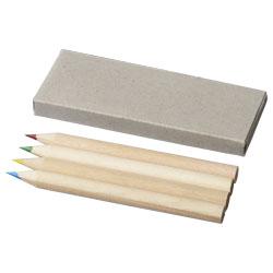 4 matite colorate in scatola di cartoncino. Personalizz...