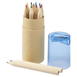 12 matite colorate in cilindro di cartone con coperchio...
