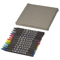 12 colorati pastelli a cera in una scatola di cartoncin...